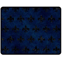 Royal1 Black Marble & Blue Grunge Double Sided Fleece Blanket (medium) by trendistuff