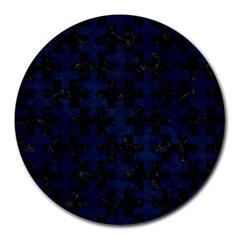 Puzzle1 Black Marble & Blue Grunge Round Mousepad by trendistuff
