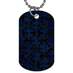 Puzzle1 Black Marble & Blue Grunge Dog Tag (one Side) by trendistuff