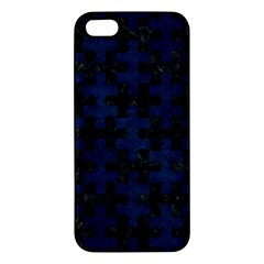 Puzzle1 Black Marble & Blue Grunge Apple Iphone 5 Premium Hardshell Case by trendistuff
