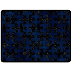 Puzzle1 Black Marble & Blue Grunge Double Sided Fleece Blanket (large) by trendistuff