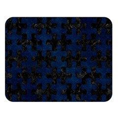 Puzzle1 Black Marble & Blue Grunge Double Sided Flano Blanket (large) by trendistuff