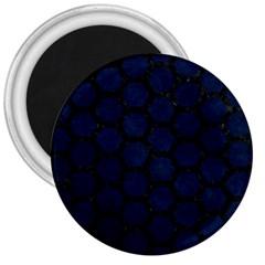 Hexagon2 Black Marble & Blue Grunge (r) 3  Magnet by trendistuff