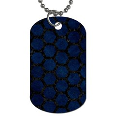 Hexagon2 Black Marble & Blue Grunge (r) Dog Tag (one Side) by trendistuff