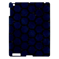 Hexagon2 Black Marble & Blue Grunge (r) Apple Ipad 3/4 Hardshell Case by trendistuff