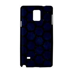 Hexagon2 Black Marble & Blue Grunge (r) Samsung Galaxy Note 4 Hardshell Case by trendistuff