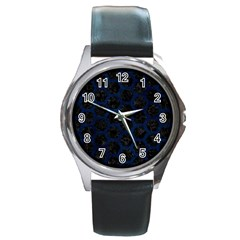 Hexagon2 Black Marble & Blue Grunge Round Metal Watch by trendistuff