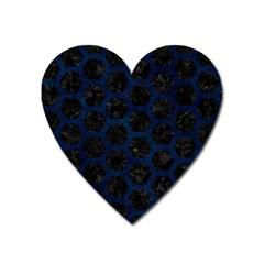 Hexagon2 Black Marble & Blue Grunge Magnet (heart) by trendistuff