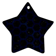 Hexagon2 Black Marble & Blue Grunge Star Ornament (two Sides) by trendistuff
