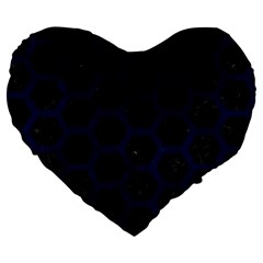 Hexagon2 Black Marble & Blue Grunge Large 19  Premium Flano Heart Shape Cushion by trendistuff