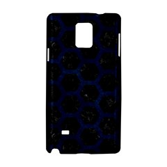 Hexagon2 Black Marble & Blue Grunge Samsung Galaxy Note 4 Hardshell Case by trendistuff