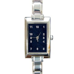 Hexagon1 Black Marble & Blue Grunge (r) Rectangle Italian Charm Watch