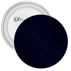 Hexagon1 Black Marble & Blue Grunge (r) 3  Button by trendistuff