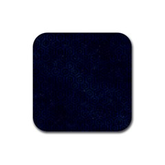 Hexagon1 Black Marble & Blue Grunge (r) Rubber Coaster (square) by trendistuff