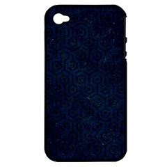 Hexagon1 Black Marble & Blue Grunge (r) Apple Iphone 4/4s Hardshell Case (pc+silicone) by trendistuff