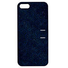 Hexagon1 Black Marble & Blue Grunge (r) Apple Iphone 5 Hardshell Case With Stand