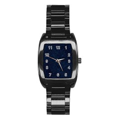Hexagon1 Black Marble & Blue Grunge (r) Stainless Steel Barrel Watch by trendistuff