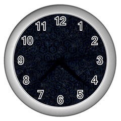 Hexagon1 Black Marble & Blue Grunge Wall Clock (silver) by trendistuff