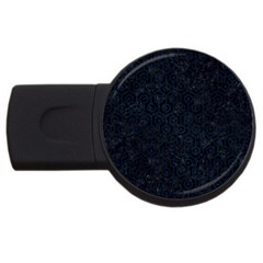 Hexagon1 Black Marble & Blue Grunge Usb Flash Drive Round (2 Gb) by trendistuff