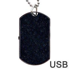Hexagon1 Black Marble & Blue Grunge Dog Tag Usb Flash (two Sides) by trendistuff