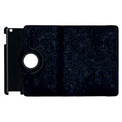 Hexagon1 Black Marble & Blue Grunge Apple Ipad 2 Flip 360 Case by trendistuff