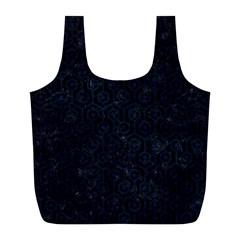 Hexagon1 Black Marble & Blue Grunge Full Print Recycle Bag (l) by trendistuff