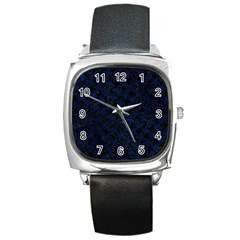 Houndstooth2 Black Marble & Blue Grunge Square Metal Watch by trendistuff