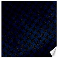 Houndstooth2 Black Marble & Blue Grunge Canvas 16  X 16  by trendistuff