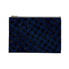 Houndstooth2 Black Marble & Blue Grunge Cosmetic Bag (large) by trendistuff