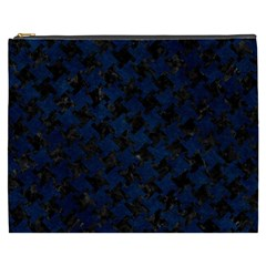 Houndstooth2 Black Marble & Blue Grunge Cosmetic Bag (xxxl) by trendistuff