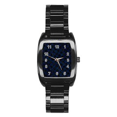 Houndstooth2 Black Marble & Blue Grunge Stainless Steel Barrel Watch by trendistuff