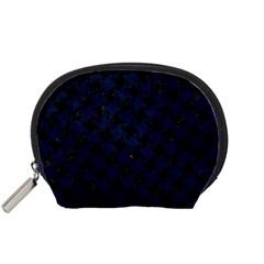 Houndstooth2 Black Marble & Blue Grunge Accessory Pouch (small) by trendistuff