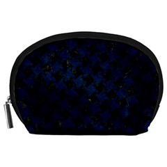 Houndstooth2 Black Marble & Blue Grunge Accessory Pouch (large) by trendistuff