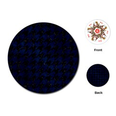 Houndstooth1 Black Marble & Blue Grunge Playing Cards (round) by trendistuff