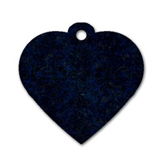Damask2 Black Marble & Blue Grunge (r) Dog Tag Heart (two Sides) by trendistuff