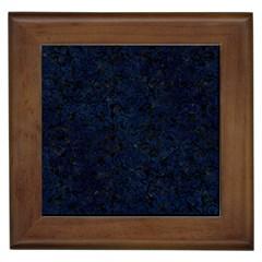 Damask2 Black Marble & Blue Grunge Framed Tile by trendistuff