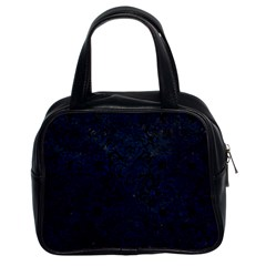 Damask2 Black Marble & Blue Grunge Classic Handbag (two Sides) by trendistuff