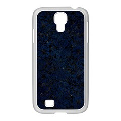 Damask2 Black Marble & Blue Grunge Samsung Galaxy S4 I9500/ I9505 Case (white) by trendistuff