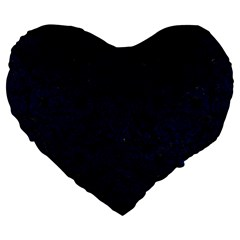 Damask2 Black Marble & Blue Grunge Large 19  Premium Flano Heart Shape Cushion by trendistuff
