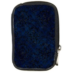 Damask1 Black Marble & Blue Grunge (r) Compact Camera Leather Case by trendistuff