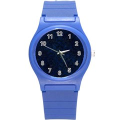 Damask1 Black Marble & Blue Grunge (r) Round Plastic Sport Watch (s) by trendistuff