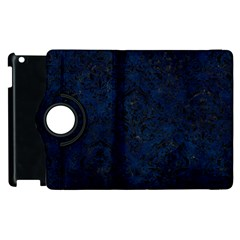 Damask1 Black Marble & Blue Grunge (r) Apple Ipad 3/4 Flip 360 Case by trendistuff