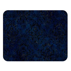 Damask1 Black Marble & Blue Grunge (r) Double Sided Flano Blanket (large) by trendistuff
