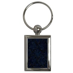 Damask1 Black Marble & Blue Grunge Key Chain (rectangle) by trendistuff