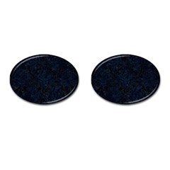 Damask1 Black Marble & Blue Grunge Cufflinks (oval) by trendistuff