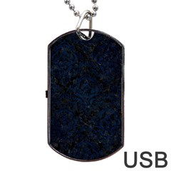 Damask1 Black Marble & Blue Grunge Dog Tag Usb Flash (two Sides) by trendistuff