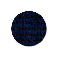 Diamond1 Black Marble & Blue Grunge Magnet 3  (round) by trendistuff