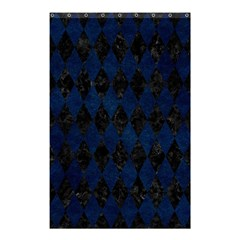 Diamond1 Black Marble & Blue Grunge Shower Curtain 48  X 72  (small) by trendistuff