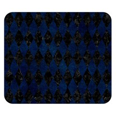 Diamond1 Black Marble & Blue Grunge Double Sided Flano Blanket (small) by trendistuff