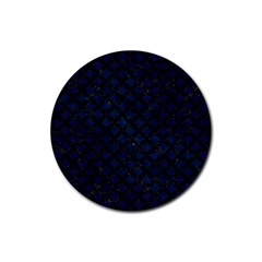 Circles3 Black Marble & Blue Grunge (r) Rubber Round Coaster (4 Pack) by trendistuff